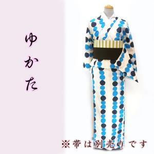 女物夏浴衣 kjyw18-2 大人レディース 単品 白地 ブルードット 水玉 夏祭り 花火|fukuda-shokado