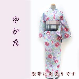 女物夏浴衣 kjyw18-3 大人レディース 単品 水色 ピンク椿 夏祭り 花火|fukuda-shokado