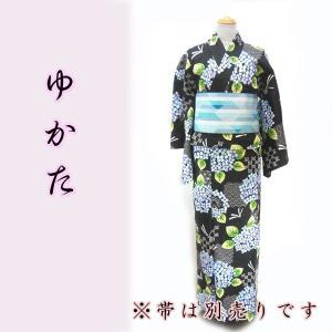 女物綿麻浴衣  kjyw18-6 大人レディース 単品 ゆかた 夏 黒地 朝顔  fukuda-shokado