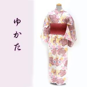 女物夏浴衣 kjyw18-7 大人レディース 単品 綿紅梅 白地 赤疋田桜|fukuda-shokado