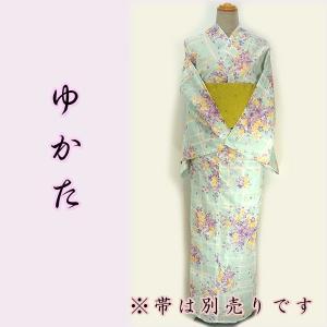 女物夏浴衣 kjyw19-14 水色 チェック 小花 大人レディース 単品 夏 浴衣|fukuda-shokado