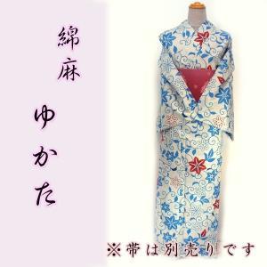 女物綿麻浴衣 kjyw19-19tl  Lサイズ グレー 青唐花 麻混 涼しい 大人レディース 単品 夏 浴衣|fukuda-shokado
