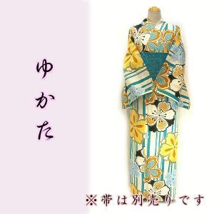 女物夏浴衣 kjyw19-7 ストライプ 白ブルー 大花 大人レディース 単品  浴衣 夏祭り 花火|fukuda-shokado