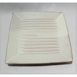小石原焼 翁明窯 皿(四角・浅) 大 しのぎ白マット 1枚|fukudasaketen