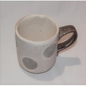 小石原焼 翁明窯 ミルクカップ 水玉マット 1個|fukudasaketen