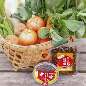朝採り新鮮旬野菜を産地直送 うまいもんセット 野菜 手作り福尽漬 えごま入りおかず味噌|fukufukugenki