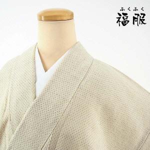 さっくりとした生成り地に、こげ茶にて蚊絣文様を織り成しました夏着物。麻の風合いに似た素朴な質感が魅力...