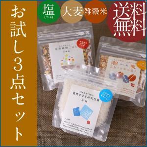 貊塩すり100g・元精穀100g・潮麦100g |fukui-koshino