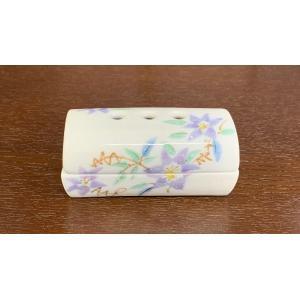 【玄関・床の間で】寝かせる香皿 美濃焼(紫鉄仙) 短寸お線香付 fukuiyashintaro