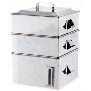 せいろ 電磁専用業務用角蒸器2段33cm 7-0385-0101 8-0391-0101|fukuji-net