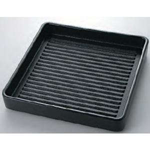 肉皿 スタッキング皿 正角肉皿 黒(塗無)20cm2人用 耐熱ABS樹脂製 食器洗浄機対応 f6-1...
