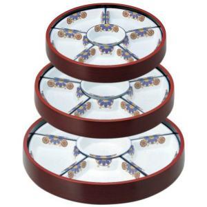 オードブル皿 尺2寸 回転盛桶 溜刷毛目(有田焼陶器仕切付) f6-542-11