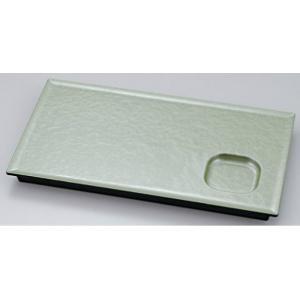 和皿 9.2寸タレ付長角盛皿 グリーン雲全面塗 ABS樹脂製