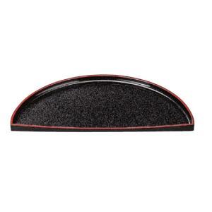 和皿 三ケ月盛器 黒パール天朱 メラミン樹脂 f5-490-4