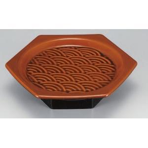 セラミーター 6.5寸 亀甲高月盛鉢 漆調春慶 樹脂製食器 食器洗浄機対応 f6-682-11