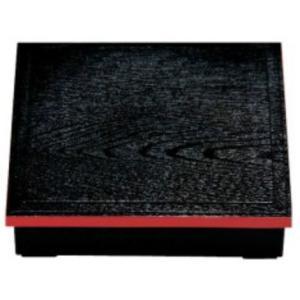 弁当箱 8.5寸 木目松花堂弁当箱 黒渕朱(内塗無) 正方形 仕切別 樹脂製 f6-985-1|fukuji-net