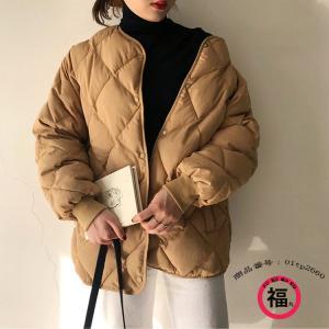 キルティングコート ブルゾン レディース ジャケット 中綿ジャケット キルトコート ノーカラー ショート丈 シンプル ボタン留め 大きいサイズ ゆったり 冬 30代 fukumarufukumaru