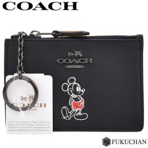 0cfe088d405f COACH/コーチ Disneyコラボ ミッキーマウス キーリング IDコインケース ブラック レザー 56265 中古