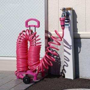 ガーデンコイルホース スタンドセット ピンク 株式会社富士商|fukushikun