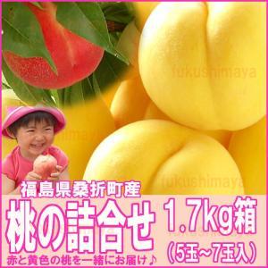 桃 詰合せ 福島県 献上桃の郷 桑折町産 1.7kg箱 5〜7玉入
