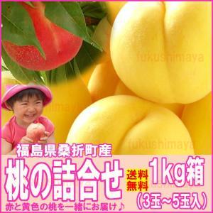 桃  詰合せ 福島県 献上桃の郷 桑折町産 1kg箱 3〜5玉入
