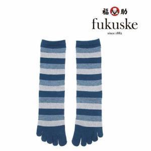 メンズ fukuske 5本指 スラブ ボーダー ショート丈ソックス 25-27cm 2f614 紳...