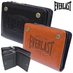 折り財布 ミドル 札入れ 型押し シンプル オシャレ 財布 EVERLAST エバーラスト
