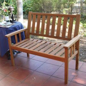 木製ベンチ ニューヨーク 2シートベンチ マレーシア産アカシア材 ガーデンベンチ|fukusyou-garden