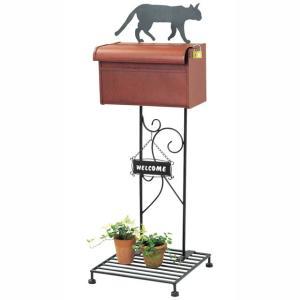 施工不要で簡単設置 アンティーク調おしゃれなスタンドポスト シルエットポスト キャット|fukusyou-garden