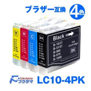 Brother ブラザー LC10-4PK対応 4色セット LC10BK LC10C LC10M LC10Y 互換インクカートリッジ|fukutama