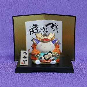 五月人形/置物/陶器//節句  童大将の陶器飾りです。  飾り寸法:幅13.5cm・奥行10cm・高...