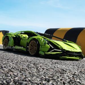 レゴ テクニック 互換品 ランボルギーニ シアン FKP37 デザイン スーパーカー スポーツカー レースカー 42115 クリスマス プレゼント|fulfilldream