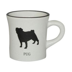 【送料無料】モノクロシルエット 白マグカップ パグ mo-mugw-V26(北海道・沖縄・離島は別料金)|fullcolor-print