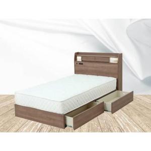 ベッド シングル シングルベッド マット付き 照明 棚付き|fullfullshp