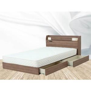 ベッド ダブル ダブルベッド マット付き 照明 棚付き|fullfullshp