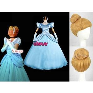 コスプレ衣装 ディズニー のシンデレラ姫ちゃん コスプレ衣装 ウイッグ付き パーティー仮装 fullgrace