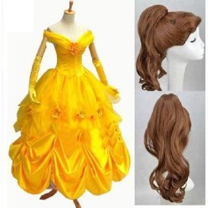 コスプレ衣装 ウイッグ付きディズニー美人と野獣 コスプレ衣装 ディズニー Belle ベルのドレス|fullgrace