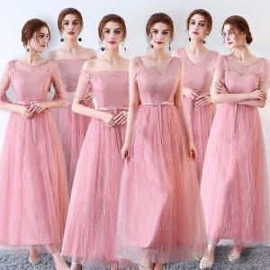 ピンクドレス ロングドレス スレンダーライン 6タイプ パーティードレス ワンピース ブライズメイド ロングドレス 結婚式 ピンク ドレス フォーマル|fullgrace