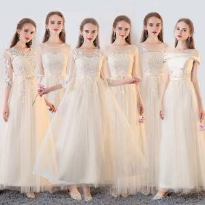 サイズ指定可 アイボリードレス ロングドレス スレンダーライン 6タイプ パーティードレス ワンピース ブライズメイド ア フォーマル|fullgrace