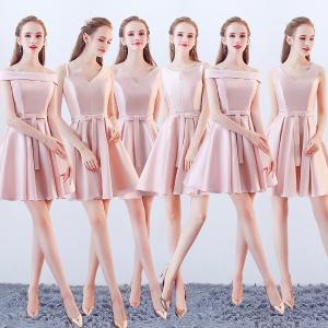 ピンクドレス サイズ指定可 全6タイプ選択可 膝丈ドレス 可愛いワンピース パーティードレス ブライズメイド|fullgrace