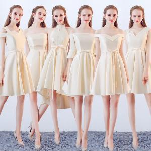 アイボリードレス サイズ指定可 全6タイプ選択可 膝丈ドレス 可愛いワンピース パーティードレス ワンピース ブライズメイド|fullgrace
