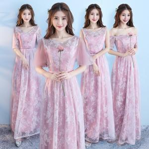 刺繍花柄 ピンクドレス ロングドレス スレンダーライン 4タイプ パーティードレス ワンピース ブライズメイド ロングドレス 結婚式 ピンク ドレス|fullgrace