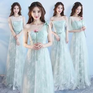 ライトグリーンンドレス 刺繍花柄 ラロングドレス スレンダーライン 4タイプ パーティードレス ワンピース ブライズメイド グリーン ドレス フォーマル|fullgrace