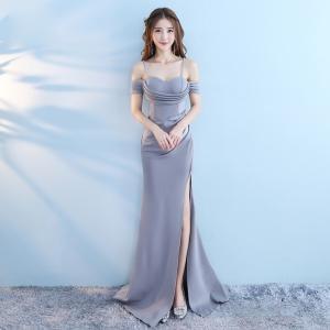 キャミワンピース セクシードレス ロングドレス スレンダーライン オフショルダードレス フィッシュテールパターンドレス|fullgrace