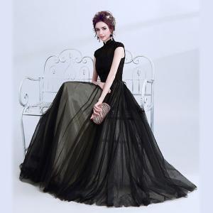 ブラックドレス チャイナネックドレス パーティードレス 大きいサイズ 結婚式 20代 30代 ロングドレス ワンピース|fullgrace