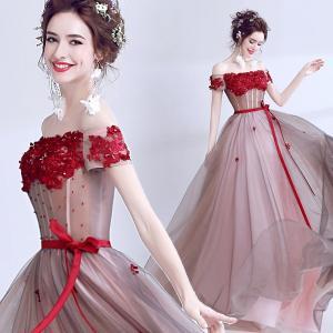 カラードレス 花柄ドレス パーティードレス 大きいサイズ 結婚式 20代 30代 ロングドレス 演奏会 ステージドレス 演奏会用ドレス 発表会 コンサート|fullgrace