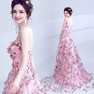 花柄ドレス テーリング花嫁 パーティードレス 大きいサイズ 結婚式 20代 30代 ロングドレス 演奏会|fullgrace
