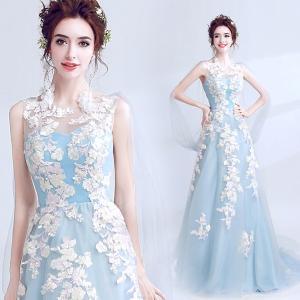 水色 花柄ドレス フィッシュテールパターン パーティードレス 大きいサイズ 結婚式 20代 30代 ロングドレス 演奏会|fullgrace