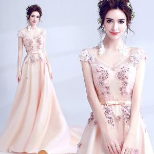 テーリング花嫁 ピンクドレス パーティードレス 大きいサイズ 結婚式 20代 30代 ロングドレス 演奏会 ステージドレス|fullgrace
