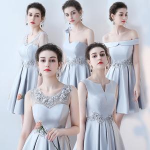 グレーワンピース 膝丈ドレス サイズ指定可 全5タイプ パーティードレス 大きいサイズ 結婚式 20代 30代 ロングドレス 演奏会 ステージドレス|fullgrace